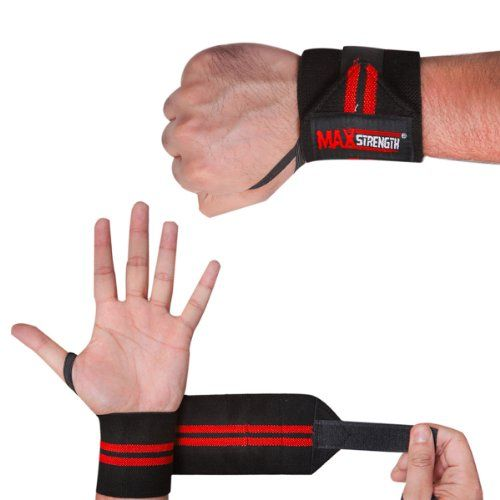 From 2.75 Maxstrength  Red Black Wrist Weight Liftings Straps Bandages.