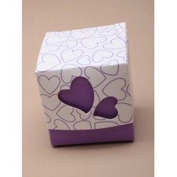 Doosjes met hartmotief paars  10 stuks