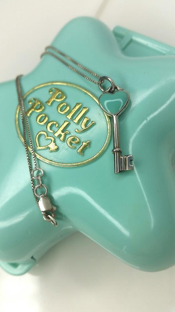 71b7f990aa5 TIFFANY & Co. Sterling Silver Blue Enamel Heart Key Pendant Charm  Necklace 925 Vintage