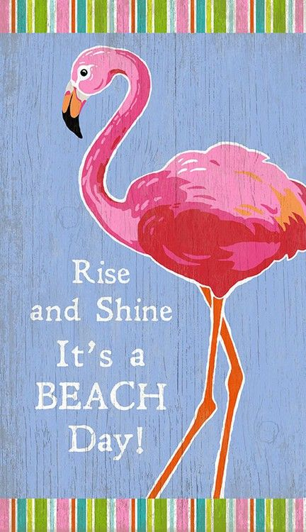 What a perfect art piece to add to a light filled beach cottage with it's bright beachy colors and pink flamingo image.