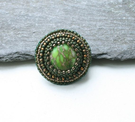 green, brown, embroidered jewelry, seed beads jewellery, toho, jasper ring, gift for her, winter time, christmas gift, OOAK