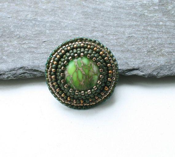 green brown embroidered jewelry seed beads by koralikowyraj