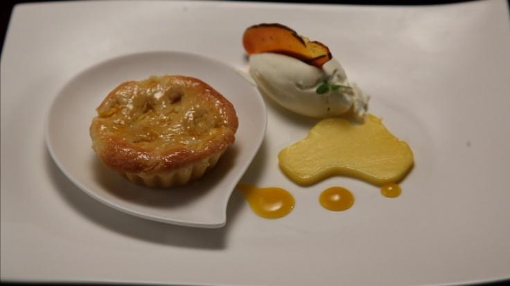 Mango and Macadamia Nut Flan with Vanilla Cream, Toffee Shards and Mango Coulis