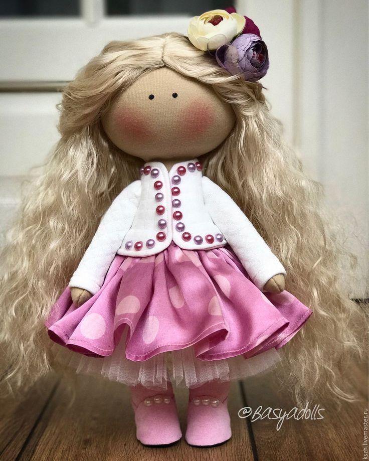 Купить Кудряшка в шёлковой юбке - кукла ручной работы, кукла в подарок, кукла, кукла интерьерная