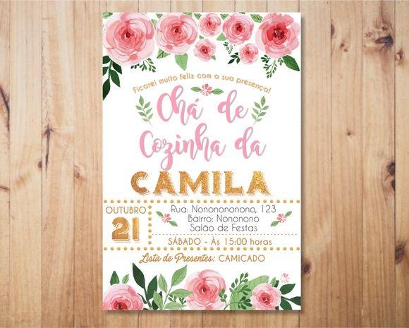 Convite Chá de Panela Flores Rosa com Dourado Digital