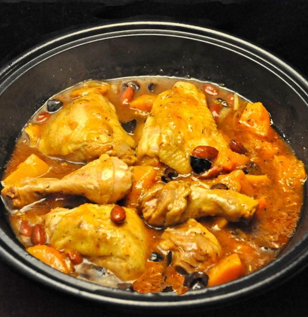 Chicken, Butternut Squash Tagine, using chicken legs and thighs, with olives and almonds