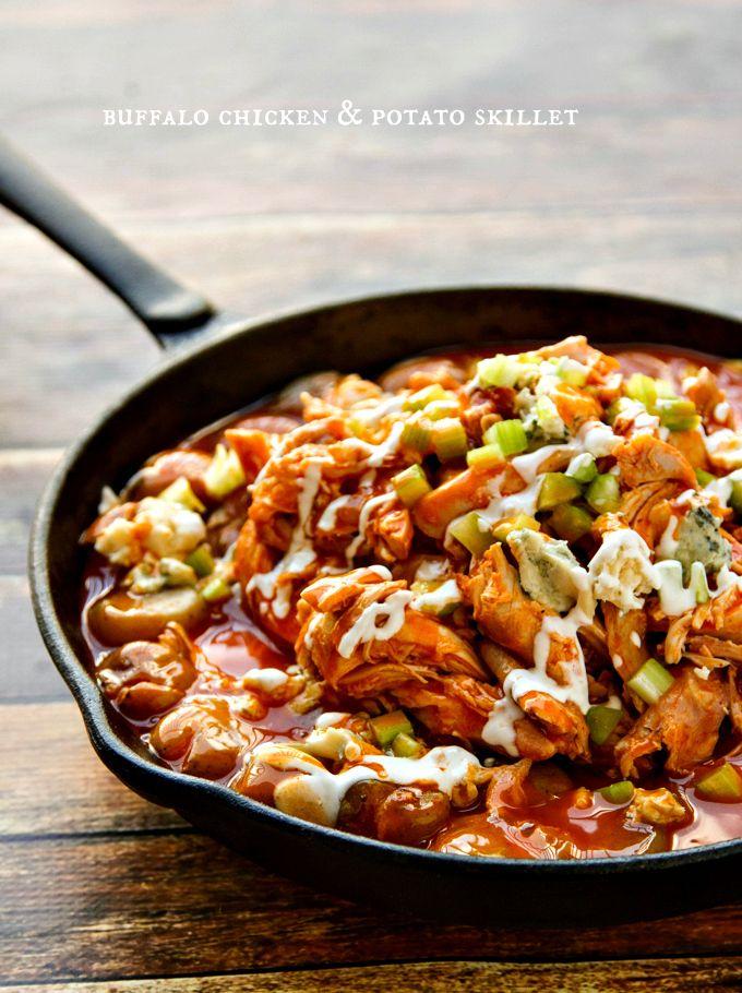 one dish buffalo chicken & potato skillet #gameday #wings