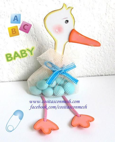 Baby Showers Manualidades ~ Cigueña con dulces para baby shower ideas