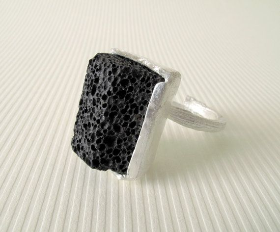 Lava Rock Ring by monteazul on Etsy, €50.00