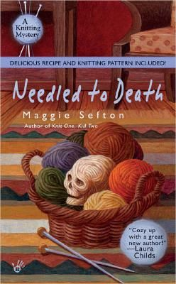 Needled to Death by Maggie Sefton. Taking a troop of tourists to Vickie Claymore's alpaca farm doesn't earn knitter Kelly Flynn a warm welcome. Instead she finds Vickie splayed out on her original hand-woven rug, her blood seeping into the design.     Includes two knitting patterns and a recipe for blueberry pie.