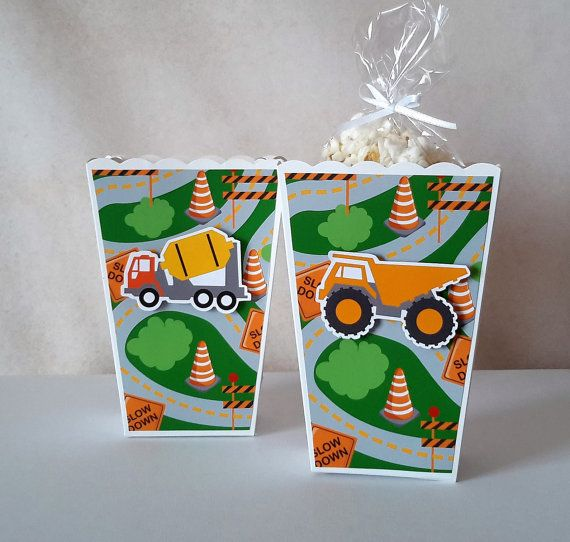 Construction Popcorn Boxes 10 CT Party Favors Ships in 1-3
