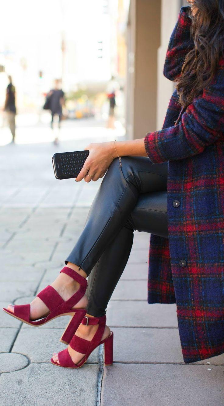 plaid coat x wine colored madewell heels