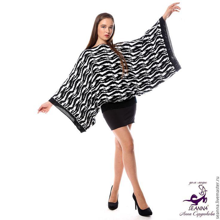 """Купить Джемпер-кимоно вязаный """"Черно-белая зебра"""" теплый один на 3 размера - джемпер, свитер"""