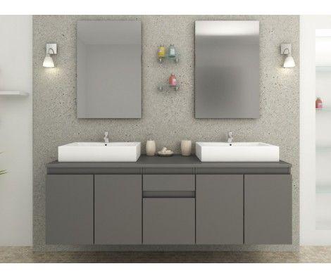 Meuble de salle de bain double vasque intégré Gris Mat