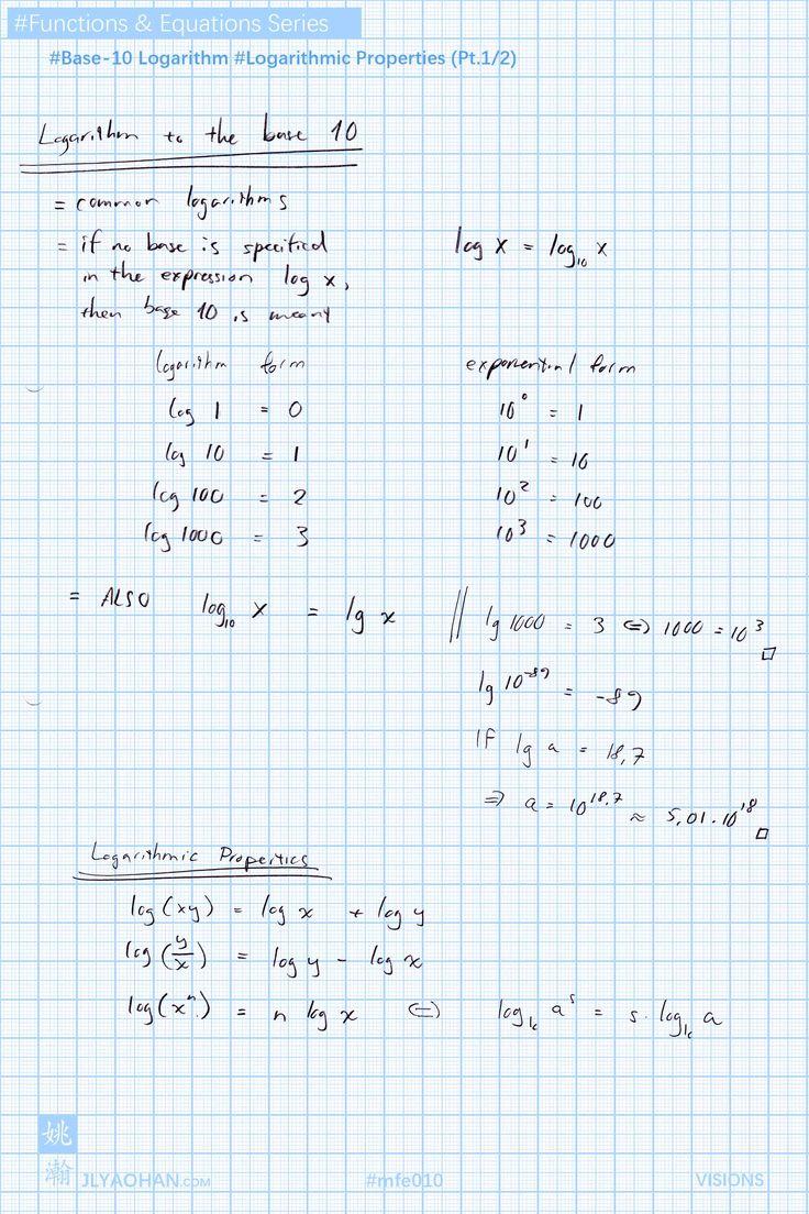 Base10 logarithm logarithmic properties logarithmic