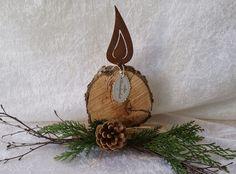 ♥♥♥ Kerze aus Holz mit Rostflamme♥ von Ges…
