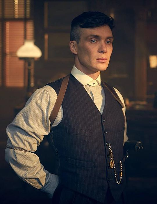pocket watch chain (Albert style, with fob on drop) w/ vest, Cillian Murphy, Peaky Blinders