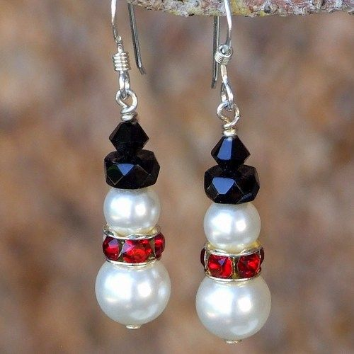 Snowman Earrings Handmade Swarovski Pearls Crystals Holiday Jewelry | ShadowDogDesigns - Jewelry on ArtFire