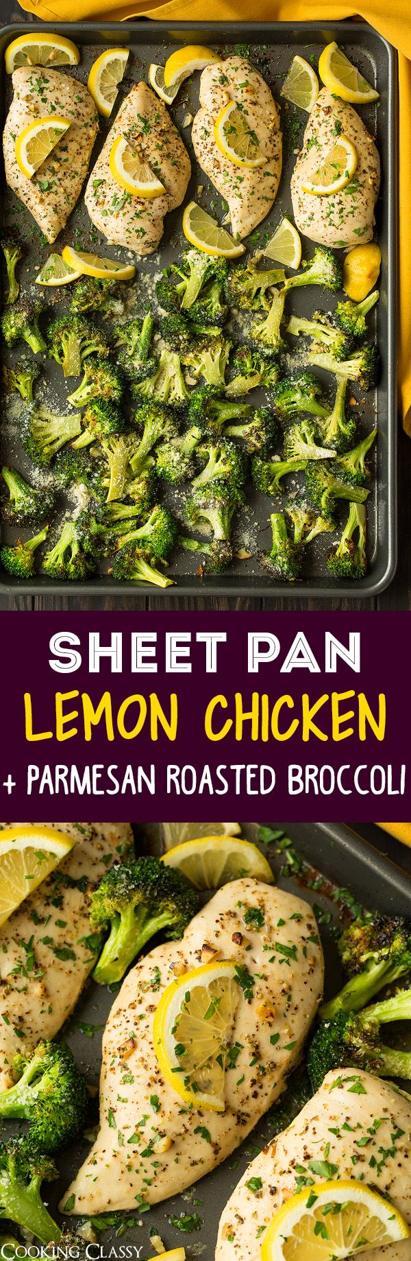 Sheet Pan Lemon Chicken with Parmesan Roasted Broccoli - Cooking Classy