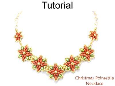 Beaded SuperDuo Christmas Poinsettia Necklace Holiday Beading Pattern Tutorial by Lane Landry with Simple Bead Patterns | Simple Bead Patterns