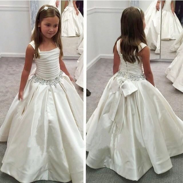 elegant girls white first holy communion dresses beading long white first dresse #New #DressyHolidayPageantWedding