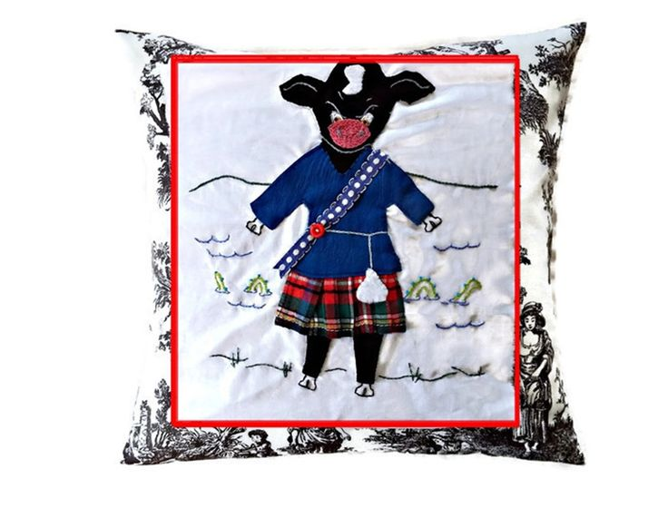 Scottish Bull at Loch Ness Cushion Cover, Applique and Embroidery, Custom Nursery Decor by Meoneil on Etsy