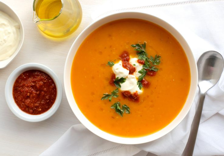 PUMPKIN, RED LENTIL AND HARISSA SOUP