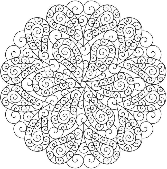 paisley mandala coloring page sample from dover publications doodle pattern