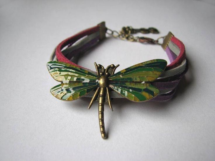 Dragonfly Green and Magenta- bransoletka w Sztuk_Kilka na DaWanda.com