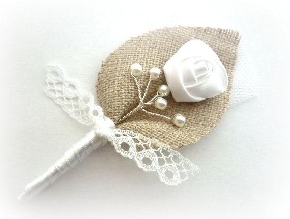 White Twigs for your Honey Lace and Burlap Wedding, Men, Groom's Boutonniere Pin Linen Groomsman, White Country Weddings, Burlap Shabby Chic...