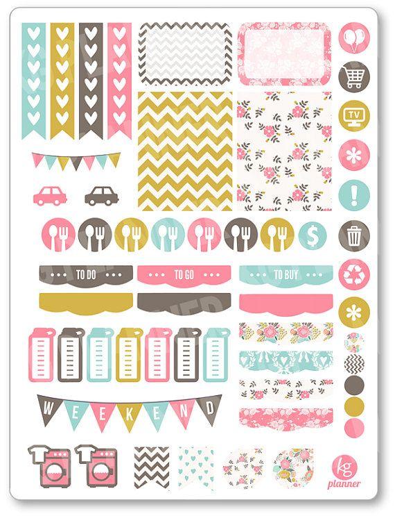 Shabby Chic Weekly Spread Planner Stickers for Erin Condren Planner, Filofax, Plum Paper