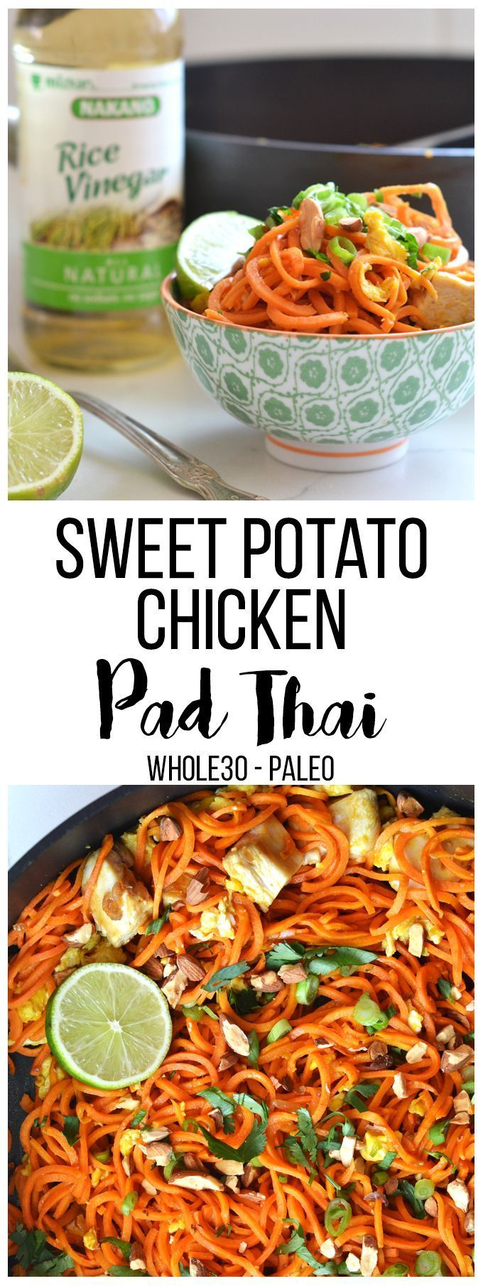 This Sweet Potato Chicken Pad Thai is an easy Whole30 and paleo recipe that reminds you of the classic recipe!