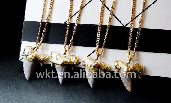 WT-N221 Natural wholesale Big shark tooth necklace in 24k gold