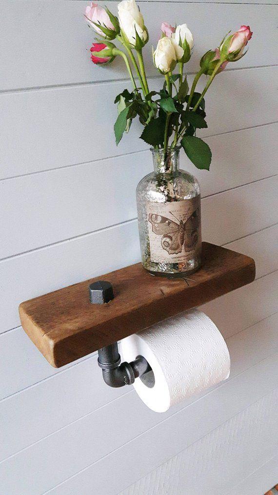 Rustic Bathroom – Bathroom Shelf – Wood Toilet Paper Holder – Steel Toilet Paper Holder – Steampunk Bathroom – Loo Roll Holder