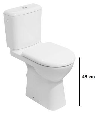 Kombi WC s ľavým aj pravým napúšťaním, splachovanie dual flush, výška misy 49 cm, s vodorovným odpadom, súčasťou je inštalačný balík, súčasťou nie je sedadlo.