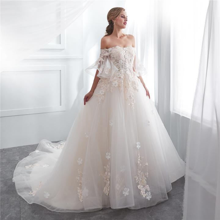 Gorgeous Off Shoulder Tulle A-Line Long Applique Wedding Dress, FC1634