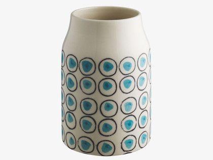 DURDLE BLUES Ceramic Blue patterned small vase - HabitatUK