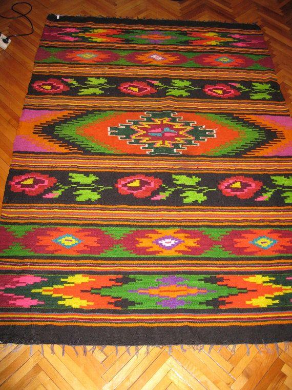 Antique flat woven Romanian carpet kilim antique by RealRomania