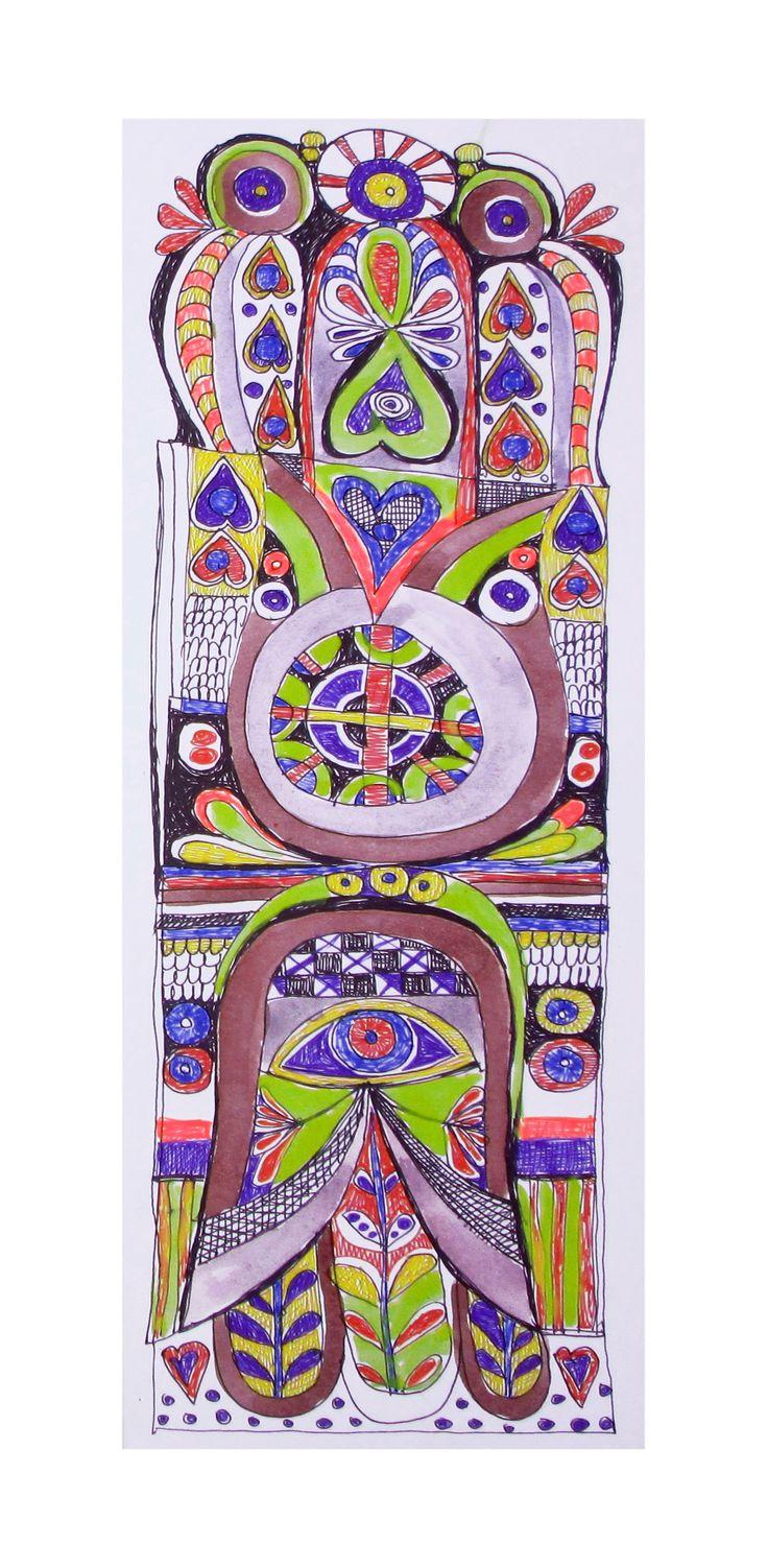 Original watercolor and pen Hamsa created by Eva Holz
