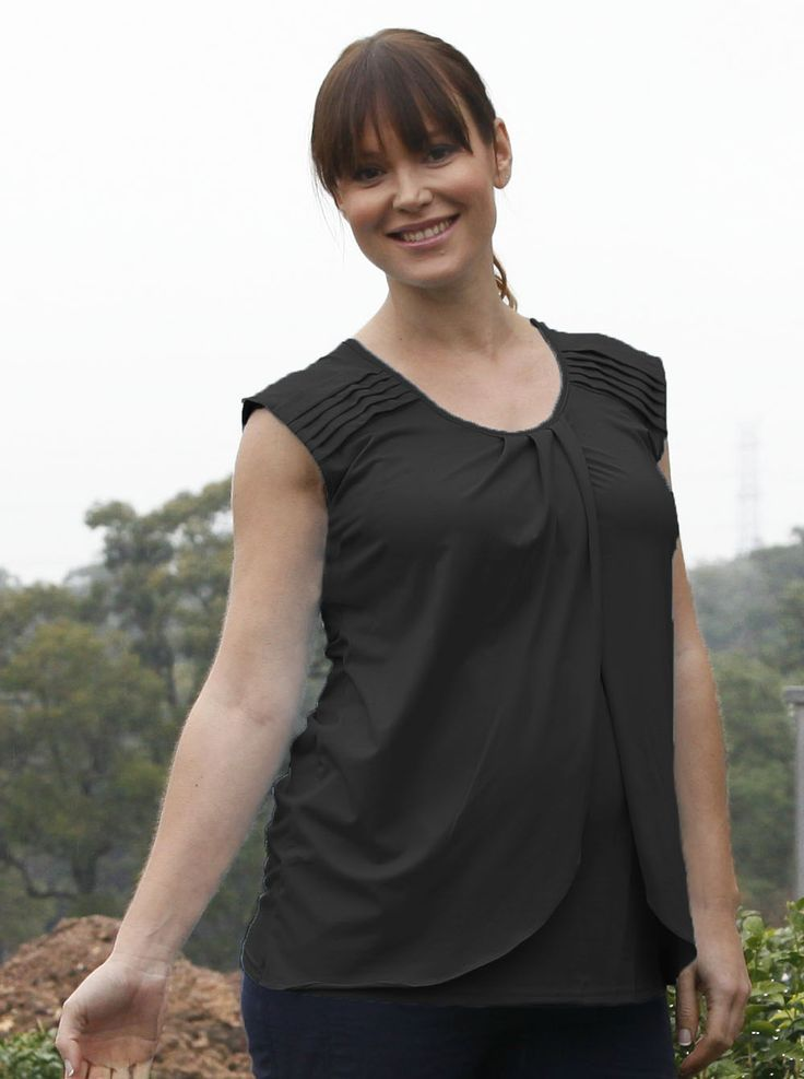 Cap Sleeve Nursing Top with Petal Front - Black, $44.95, is a staple to any office wardrobe. Dress it up with heels and statement jewellery for work.
