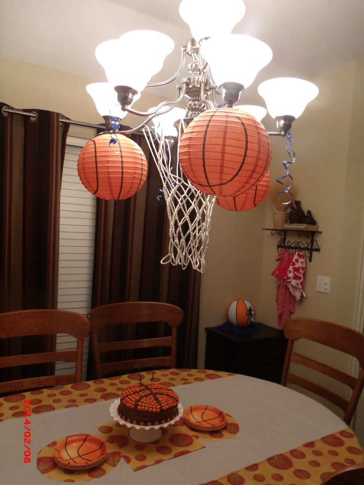 My son's basketball themed birthday party decorations.