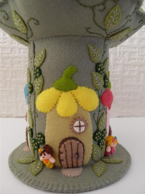 WOW...pincushion mushroom fairy house stitching embroidery how to DIY project design template pattern handmade sewing craft idea