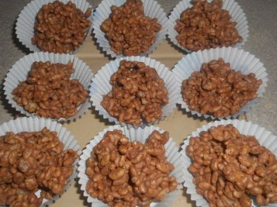 Chocolate Crackles: coco pops and melted milk chocolate.