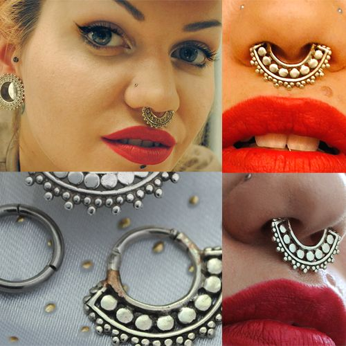 Silver and white metal afghan septum clicker  14g  $69.95