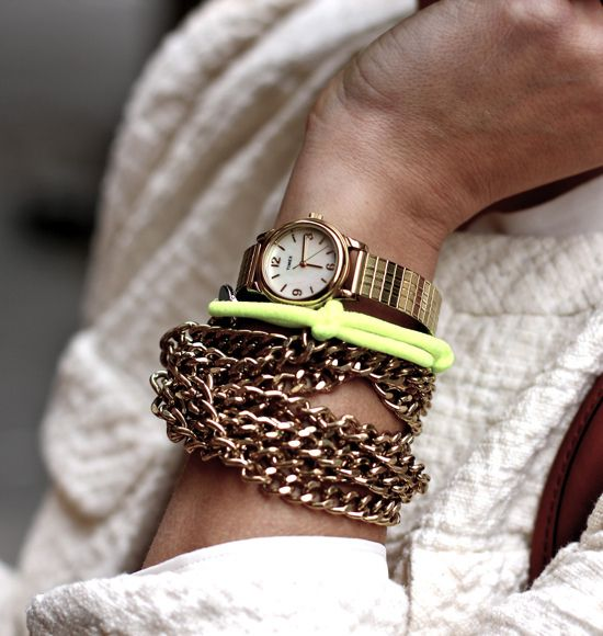 IMG_9099 by my style pill, via Flickr: Fashion Watches, Arm Candy, Bracelets Jewelry, Neon Green, Remain Simple, Note To Self, Gold Watches, Gold Accessories, Arm Parties