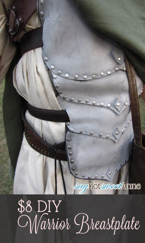 $8 breastplate tutorial: craft foam, brads, metallic spray paint, belts glue, and scissors.