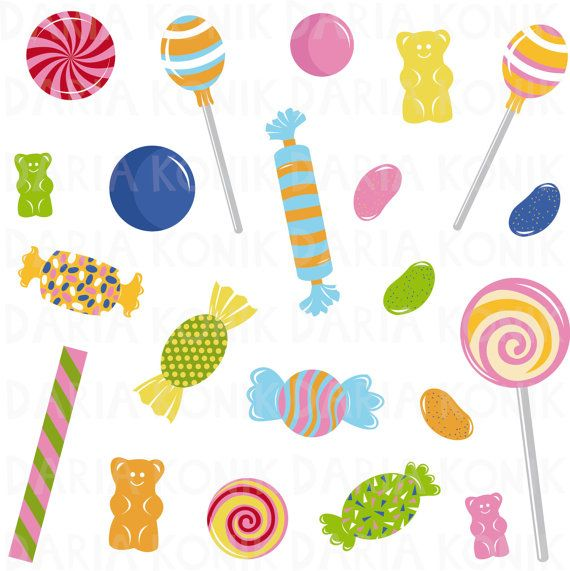 Candy Clip Art Set, sweets clipart, perfect for scrapbooking by dariakonik