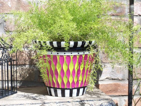 Whimsical French Cottage Style Hand Painted Garden Planter
