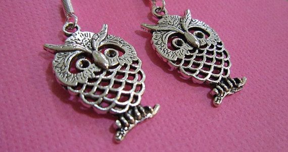 Beautiful And Fun Silver Plated Owl Earrings by EarthyEcoStyle, $12.00