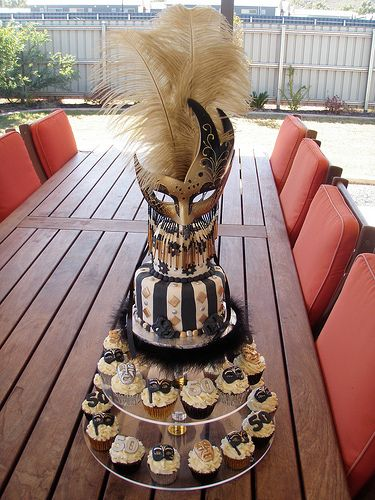 Mossy's masterpiece - 50th Birthday black gold & silver masquerade cake & cupcakes by Mossy's Masterpiece cake/cupcake designs, via Flickr